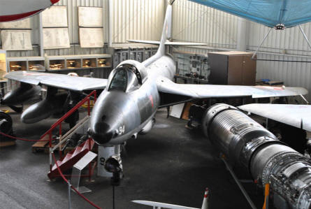 A Swiss Air Force Hawker Hunter F58 displayed at the Austrian Aviation Museum in Graz-Thalerhof.