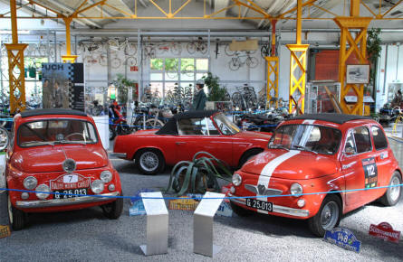 Some of the classic Steyr-Puch cars displayed at the Johann Puch Museum in Graz.