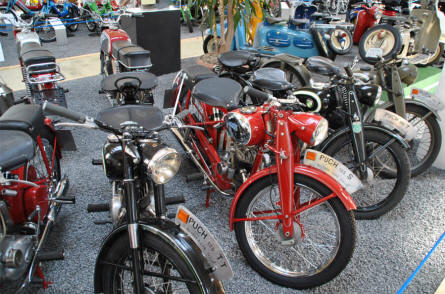 Some of the classic Puch motorcycles displayed at the Johann Puch Museum in Graz.