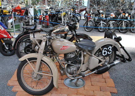 One of the many vintage Puch motorcycles displayed at the Johann Puch Museum in Graz.
