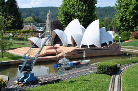 The Opera house in Sydney (Australia) displayed at the Minimundus miniature park in Klagenfurt.