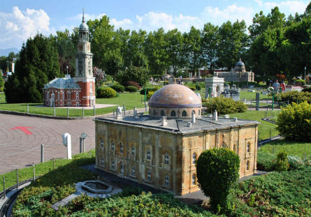 Some of the many magnificent buildings displayed at the Minimundus miniature park in Klagenfurt.