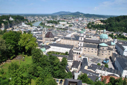 The view from Fortress Hohensalzburg at down-town Salzburg and the river Salzach.