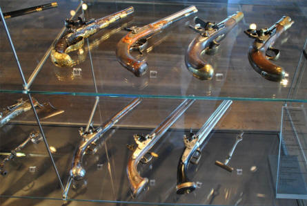 Old hand guns displayed as a part of the middle age military exhibition at the Fortress Hohensalzburg in Salzburg.