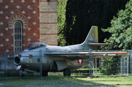 A classic Swedish built Saab 29 Tunnan jet fighter displayed at the Museum of Military History in Vienna.