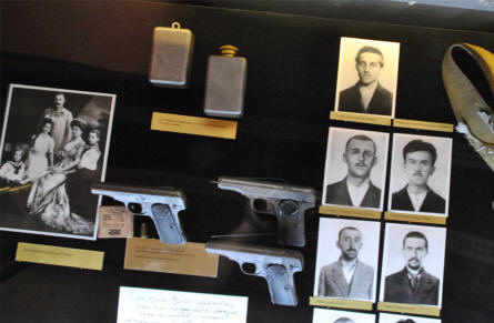 Pictures and weapons from the people behind the assassination of the Crown Prince Ferdinand in Sarajevo in 1914 are displayed at the Museum of Military History in Vienna. This assassination started World War I.