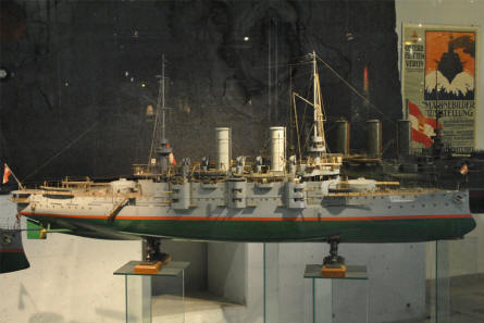 This scale model of a navy ship is a part of the exhibition regarding Austria as a naval power at the Museum of Military History in Vienna.
