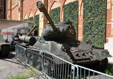 A Russian World War II T-34 tank displayed at the Museum of Military History in Vienna.