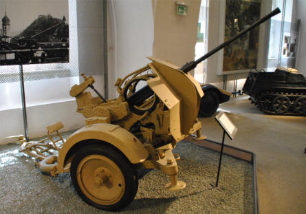 A German World War II anti-aircraft gun displayed at the Museum of Military History in Vienna.