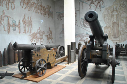 A small section of the historical artillery exhibition at the Museum of Military History in Vienna.