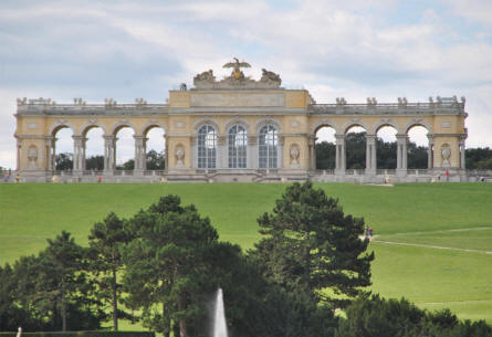 The building at the far end of the the Baroque park of the Schönbrunn Palace in Vienna.