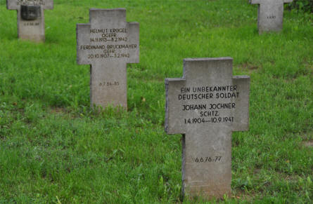 "Some typical German World War II tombstones at the Vienna German War Cemetery. On the first stone one of the soldiers is ""Unknown"" and the rest of these soldiers all died during 1941 and 1942."