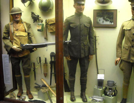 Some of the many World War I uniforms, weapons and other equipment displayed at the Royal Armed Forces Museum in Brussels.