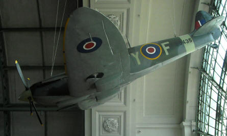 A British World War II Supermarine Spitfire displayed at the Royal Armed Forces Museum in Brussels.