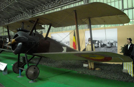 A vintage World War I French aircraft at the Royal Armed Forces Museum in Brussels.