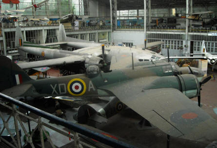 Some of the larger aircrafts displayed at the Royal Armed Forces Museum in Brussels. In front a World War II Bristol Blenheim.