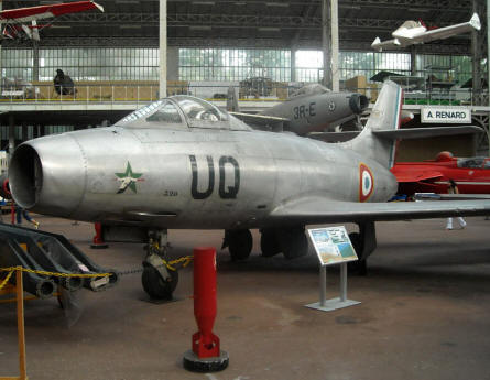 A French built Dasault Mystere fighter displayed at the Royal Armed Forces Museum in Brussels.