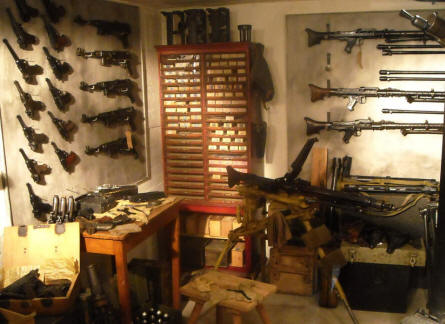 Some of the many German World War II hand weapons displayed at the Raversijde Domain (Atlantic Wall museum) at Oostende.