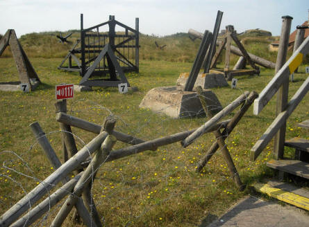 Some of the obstacles - that were used by the Germans as a part of the World War II Atlantic Wall - are displayed at the Raversijde Domain (Atlantic Wall museum) at Oostende.