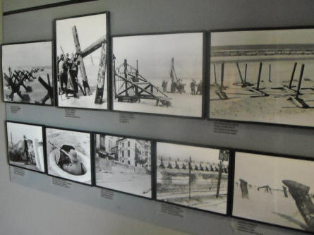 Photos of some of the obstacles - that were used by the Germans as a part of the World War II Atlantic Wall - are displayed at the Raversijde Domain (Atlantic Wall museum) at Oostende.