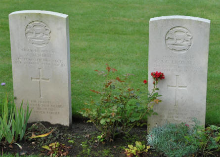 Two of the many war graves at the Geel War Cemetery. These two soldiers were killed in October 1944.