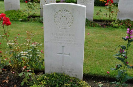 The grave of Captain J. H. Johnston (killed in September 1944)  at the Geel War Cemetery.