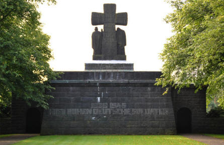 The memorial at the entrance to the Lommel German War Cemetery.
