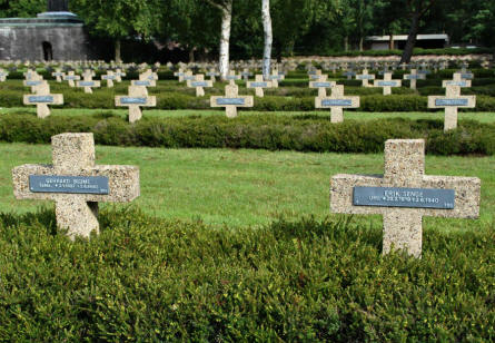 Some of the many graves at the Lommel German War Cemetery.