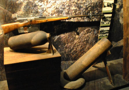 Some of the World War I weapons displayed at the In Flanders Fields Museum in Ypres.