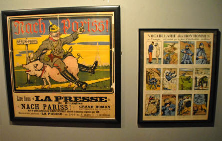 World War I cartoons and posters displayed at the In Flanders Fields Museum in Ypres.