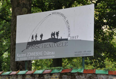 A sign outside the Memorial Museum Passchendaele 1917.