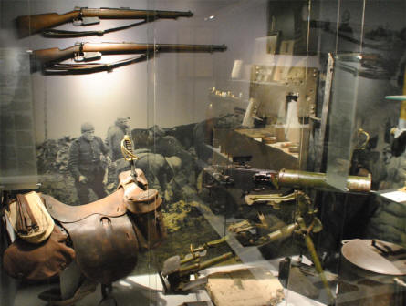 World War I weapons displayed at the Memorial Museum Passchendaele 1917.