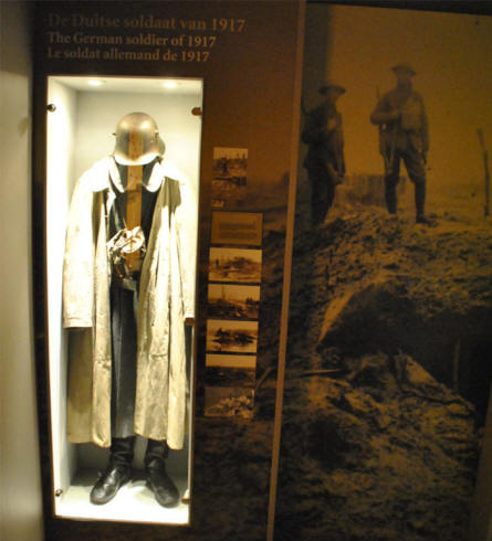 A German World War I uniform displayed at the Memorial Museum Passchendaele 1917.
