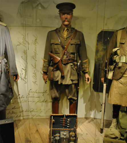 A British World War I officer displayed at the Memorial Museum Passchendaele 1917.