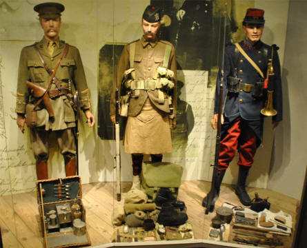 British and French World War I uniforms displayed at the Memorial Museum Passchendaele 1917.