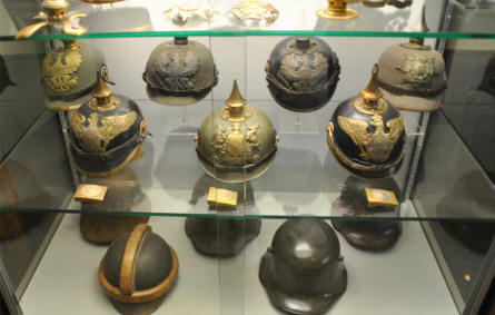 German World War I helmets displayed at the Memorial Museum Passchendaele 1917.