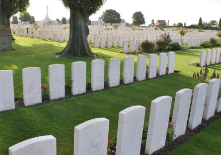 Some of the graves at the Tyne Cot War Cemetery near Zonnebeke.