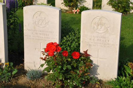 The graves of two British officers at the Tyne Cot War Cemetery near Zonnebeke. They were both killed on the 4th of October 1917.