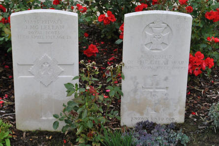 "The graves of  a ""known"" and an ""unknown"" soldierat the Tyne Cot War Cemetery near Zonnebeke."