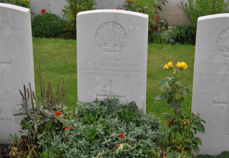 The grave of the Australian Captain G. G. Robertson at the Tyne Cot War Cemetery near Zonnebeke. He was killed on the 20th of July 1916 - age 21.