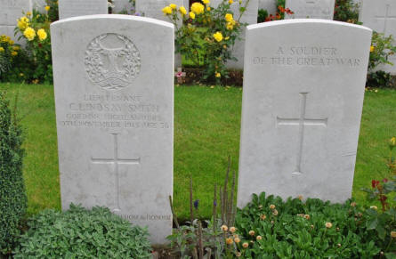 "The grave of Lieutenant C. Lindsay Smith (killed on the 10th of November 1915) and the grave of ""A soldier of the Great War"" at the Tyne Cot War Cemetery near Zonnebeke. They were both killed on the 12th of October 1917."