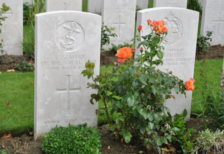 "The grave of ""A Seaman of the Great War"" at the Tyne Cot War Cemetery near Zonnebeke."