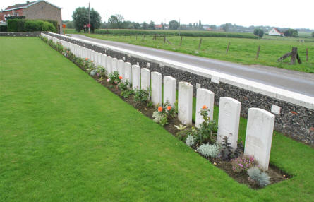 Some of the graves close to the main entrance of the Tyne Cot War Cemetery near Zonnebeke.