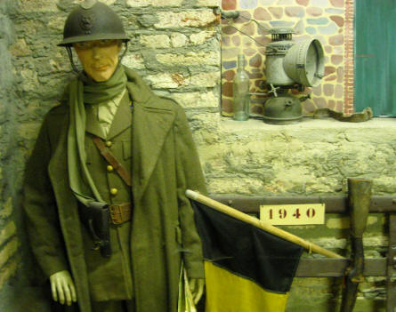 A Belgium World War II (1940) soldier displayed at the Museum Poteau '44 Ardennes.