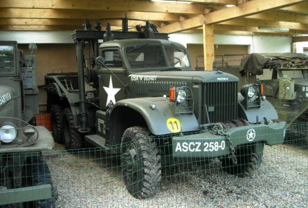 An American World War II 4-ton Diamond T model 969A tow truck displayed at Museum Poteau '44 Ardennes.
