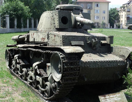 A German World War II LT vz.38 tank displayed at the National Museum of Military History in Sofia.