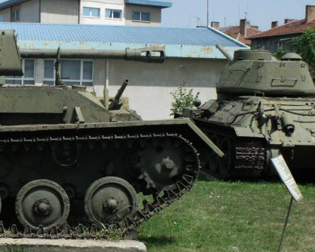 A Russian World War II T-34 tanks (see from the back)displayed at the National Museum of Military History in Sofia.