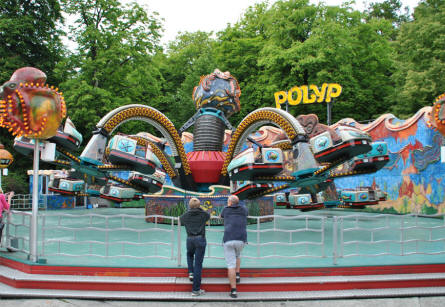 One of the spinning attractions at Bakken Amusement Park - Copenhagen.