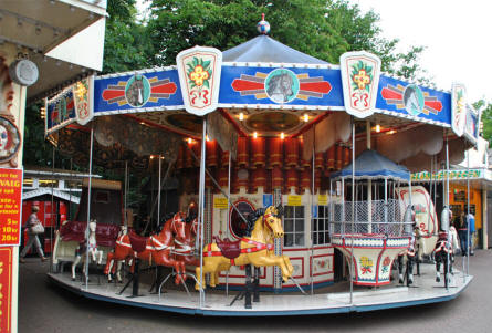 A traditional carousel at Bakken Amusement Park - Copenhagen.