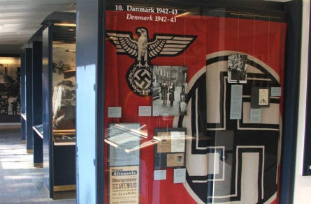 German flags and other stuff which tells about the German occupation of Denmark during World War II.